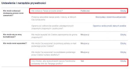 Zmiana ustawień prywatności na portalu Facebook