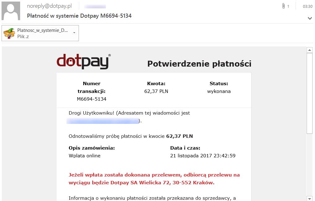 Źródło:https://zaufanatrzeciastrona.pl/post/uwaga-na-nowa-kampanie-zlosliwego-oprogramowania-platnosc-w-systemie-dotpay/