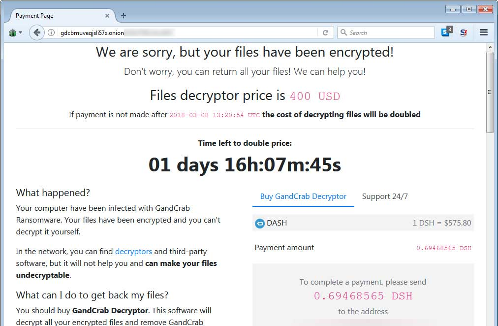 Źródło: https://www.bleepingcomputer.com/news/security/gandcrab-ransomware-version-2-released-with-new-crab-extension-and-other-changes/