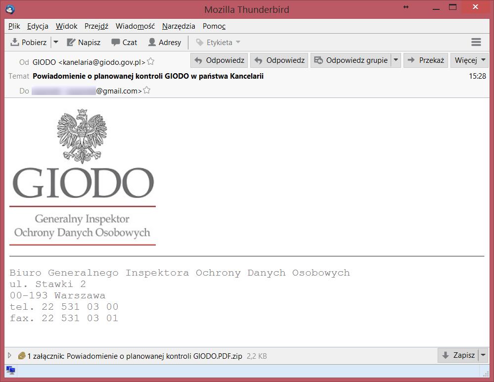 Przykładowy phishing, którego załącznik prowadził do zaszyfrowania komputera. Źródło: https://zaufanatrzeciastrona.pl/post/uwaga-na-wiadomosc-podszywajaca-sie-pod-komunikat-o-kontroli-giodo/