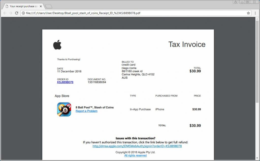 Źródło: https://www.bleepingcomputer.com/news/security/widespread-apple-id-phishing-attack-pretends-to-be-app-store-receipts/