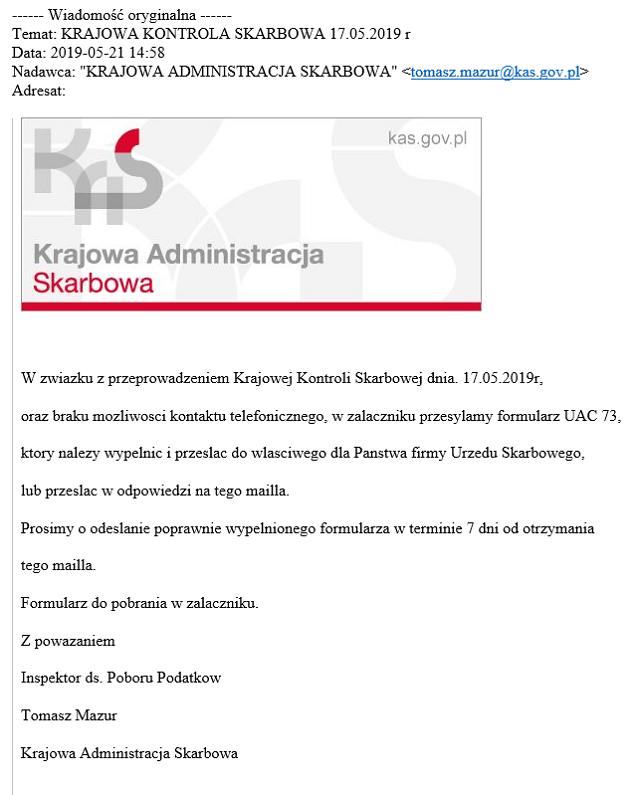 Źródło: https://www.gov.pl/web/kas/uwaga-na-falszywe-wiadomosci-e-mail-nt-krajowej-kontroli-skarbowej