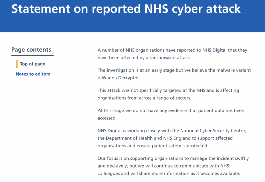 Źródło: https://digital.nhs.uk/news-and-events/news-archive/2017-news-archive/statement-on-reported-nhs-cyber-attack