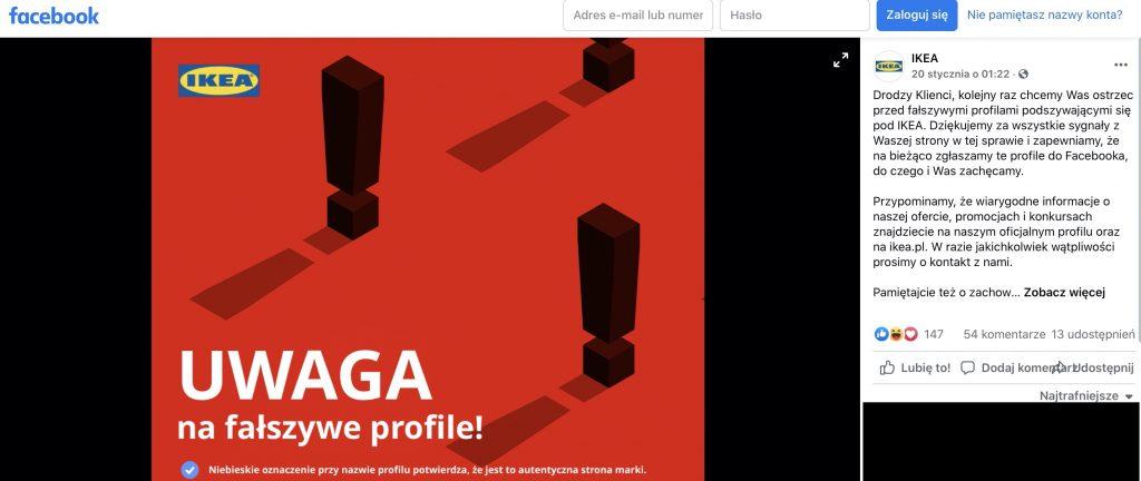 Źródło: Profil Ikea, Facebook